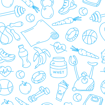 tillable: Seamless pattern with isolated blue fitness doodles. Hand drawn tillable background for fabric, textile, wrapping paper. Gym equipment sneaker, dumbbell, mat, scales, barbell, cycle, shaker balls Stock Photo