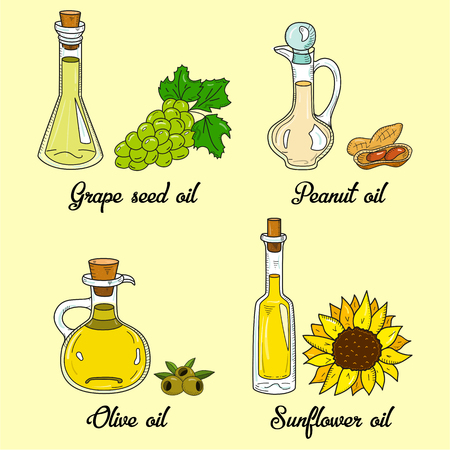 4 cooking oils in cute sketchy bottles. Hand drawn doodle set of edible vegetable food oil. With origin products olive, grape seed, peanut and sunflower.