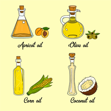 4 cooking oils in cute sketchy bottles. Hand drawn doodle set of edible vegetable food oil. With origin products olive, apricot, corn, coconut. Иллюстрация