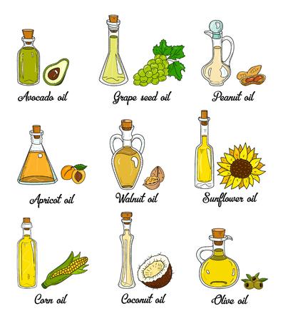 9 huiles de cuisson dans de mignonnes bouteilles sketchy. Ensemble de griffonnage dessiné à la main avec de l'huile alimentaire végétale comestible. Avec les produits d'origine, l'olive, l'abricot, le maïs, le raisin, le noix, la noix de coco, l'avocat, l'arachide et le tournesol. Vecteurs