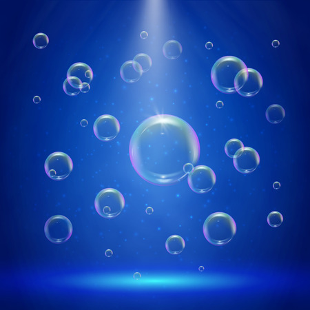 Stage illumination with spotlights and bubbles. Blue deep sea scene with shampoo foam in water. Colorful realistic bubble with sprays and rays. Background with liquid cleaning soap for bath and shower Illustration