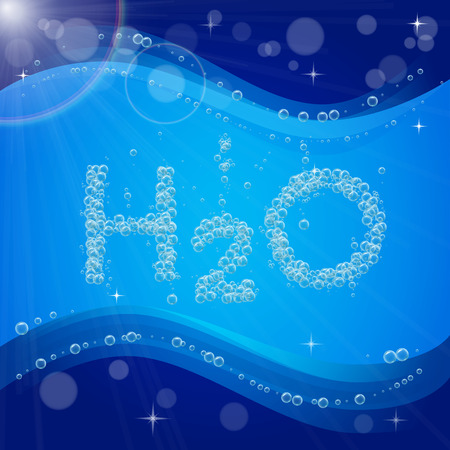 filtering: Water bubble background. Blue banner or flyer with water molecule h2o. Text made with cool bubbles. Shiny realistic foam and waves with flare, bokeh and lights. For sanitary aqua filtering, plumber.