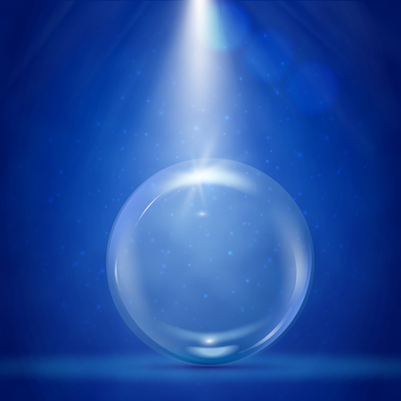 Big bubble with stage illumination and spotlights. Blue deep sea scene with water and sunshine flare. Underwater background with bubble. Glowing rays and sparkles. Sun flash with radiate burst. Illustration