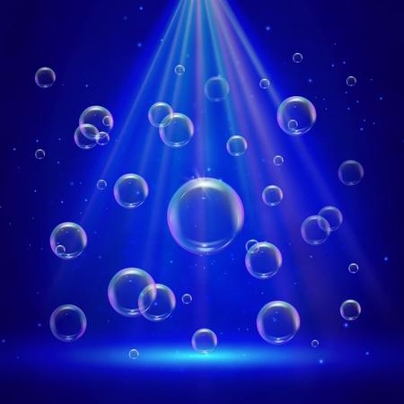 Toneelverlichting met schijnwerpers en bubbels. Blauwe diepzeescène met shampooschuim in water. Kleurrijke realistische bubbels met sprays en zonneschijn stralen. Blaaszeep voor het wassen van de ontwerpvlieger Vector Illustratie