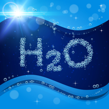Bubble background. Blue banner or flyer with water molecule h2o. Text made with cool bubbles. Shiny realistic foam and waves with flare, bokeh and lights. Pour beverage drinking clean water and soda.