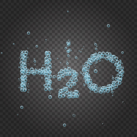 Bubbles on grey transparent background. Vector banner or flyer with chemical molecule h2o. Text made with cool bubbles. Shiny realistic foam and waves. Bottled still water, eco and healthy motivation.