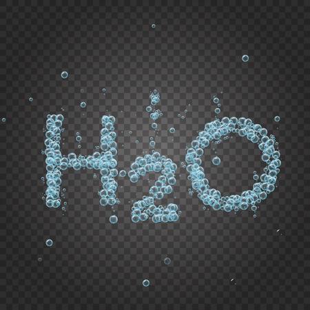 Blasen auf grauem transparentem Hintergrund. Vector Banner oder Flyer mit chemischen Molekül H2O. Text mit coolen Blasen gemacht. Glänzender realistischer Schaum und Wellen. Abgefülltes stilles Wasser, Öko und gesunde Motivation.