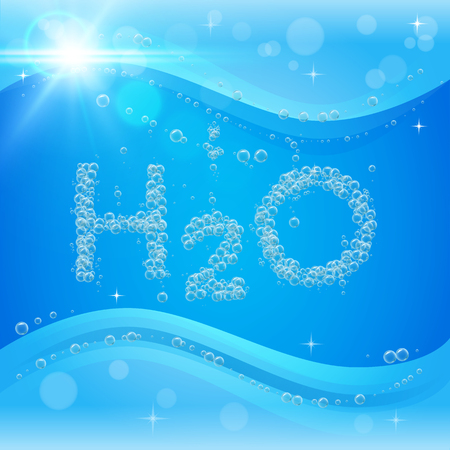 Water bubble background. Blue banner or flyer with water molecule h2o. Text made with cool bubbles. Shiny realistic foam and waves with flare, bokeh and lights. Eco lifestyle and healthy motivation. Illustration