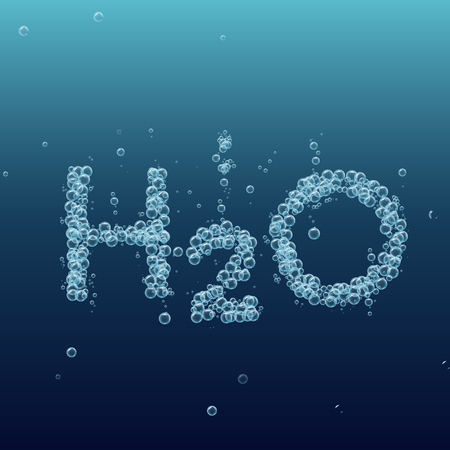 h2o: Water bubble background. Vector blue banner or flyer with chemical molecule h2o. Text made with cool bubbles. Shiny realistic foam and waves. Bottled still water, eco lifestyle and healthy motivation.