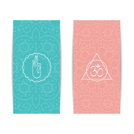ヨガ バナー テンプレート。チャクラと曼荼羅のシンボルの垂直ピンクとターコイズのチラシのセットです。ヨガ バナー、スタジオ、スパ、クラス  イラスト・ベクター素材