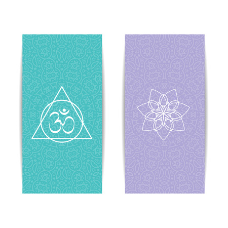 magazine design: Yoga studio template. Set of vertical purple and turquoise flyers with chakra and mandala symbols. Design for yoga studio, spa, center, classes, poster, magazine, gift certificate and presentation Illustration