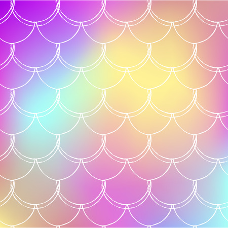 Mermaid tale on trendy gradient background. Square backdrop with mermaid tale ornament. Bright color transitions. Fish scale banner and invitation. Underwater and sea pattern. Rainbow colors. Illustration