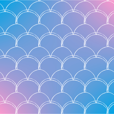 Mermaid tale on trendy gradient background. Square backdrop with mermaid tale ornament. Bright color transitions. Fish scale banner and invitation. Underwater and sea pattern. Blue, rose, pink colors. Illustration
