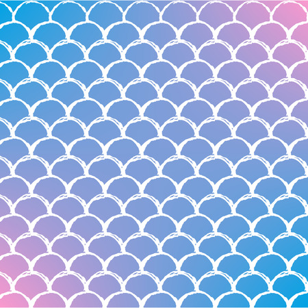 Mermaid scale on trendy gradient background. Square backdrop with mermaid scale ornament. Bright color transitions. Fish tail banner and invitation. Underwater sea pattern. Blue, purple, pink colors.