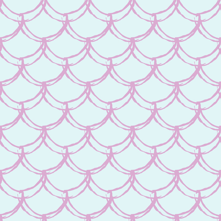 Little mermaid seamless pattern. Fish skin texture. Tillable background for girl fabric, textile design, wrapping paper, swimwear or wallpaper. Blue little mermaid background with fish scale.