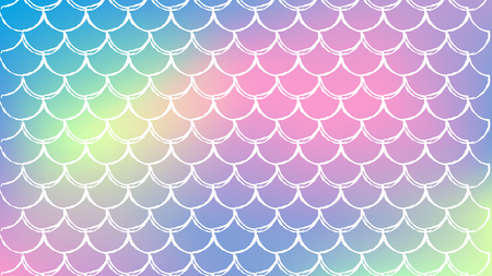 Mermaid scale on trendy gradient background. Horizontal backdrop with mermaid scale ornament. Bright color transitions. Fish tail banner and invitation. Underwater sea pattern. Rainbow colors. Illustration