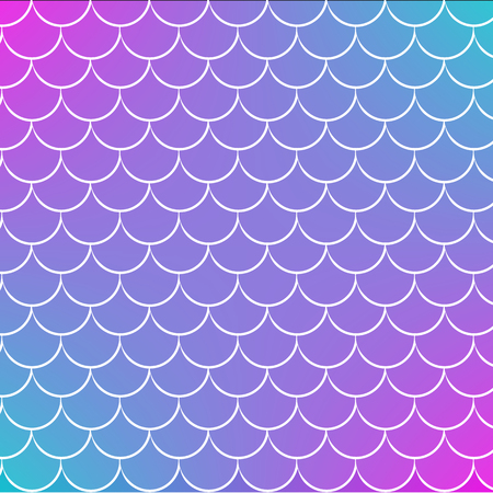 Mermaid tale on trendy gradient background. Square backdrop with mermaid tale ornament. Bright color transitions. Fish scale banner and invitation. Underwater sea pattern. Blue, purple, pink colors. Vettoriali