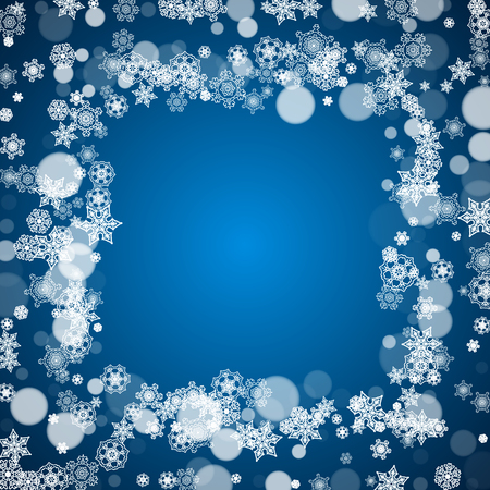 Christmas frame with falling snow on blue background; Santa Claus colors; Merry Christmas frame with white frosty snowflakes for banners, gift cards, party invitations and special business offers.