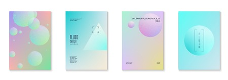 Holographic fluid set with radial circles. Geometric shapes on gradient background. Modern hipster template for poster, cover, banner, flyer, report, brochure. Minimal holographic fluid in neon colors.