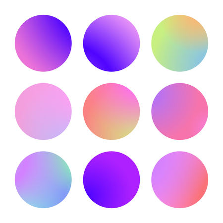 Round gradient set with modern abstract backgrounds. Colorful fluid covers for calendar, brochure, invitation, cards. Trendy soft color. Template with round gradient set for screens and mobile app. Illustration