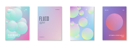 Cover fluid set with round shapes. Gradient circles on holographic background. Modern hipster template for placards, banners, flyers, report, brochure. Minimal cover fluid in vibrant neon colors. 일러스트