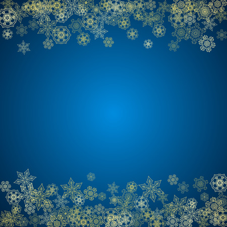 New Year snow on blue background. Gold glitter snowflakes. Christmas and New Year snow falling backdrop. For season sales, special offers, banners, cards, party invites, flyers. Frosty winter on blue.