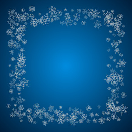 New year background with silver frosty snowflakes. Stylish new year background for holiday banners and cards. Illustration