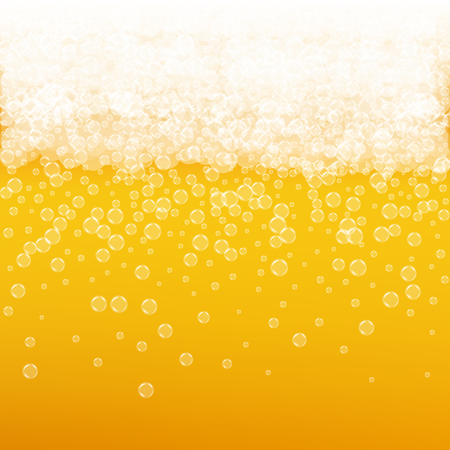 Beer background with realistic bubbles. Cool liquid drink for pub and bar menu design, banners and flyers. Yellow square beer background with white frothy foam. Cold pint of golden lager or ale. Reklamní fotografie - 91552838
