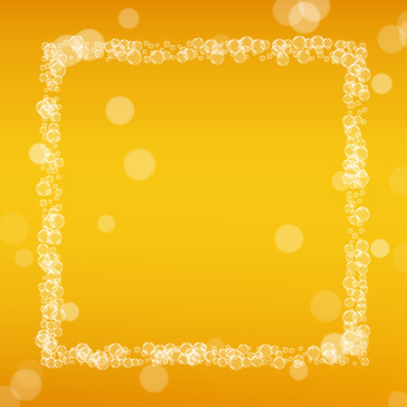 Beer background with realistic bubbles. Cool liquid drink for pub and bar menu design, banners and flyers. Yellow square beer background with white frothy foam. Fresh cup of lager for brewery design.