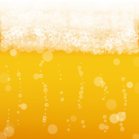 Beer background with realistic bubbles. Cool beverage for restaurant menu design, banners and flyers.