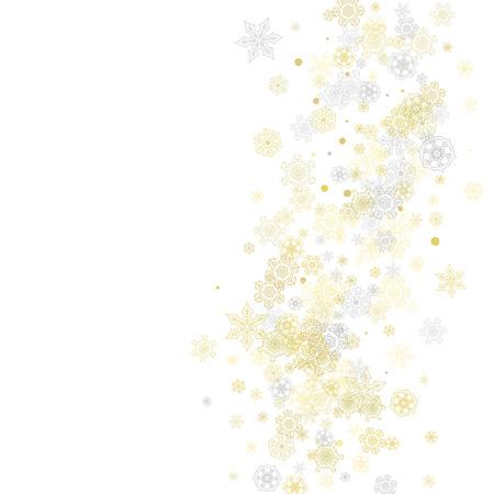 Cadre de flocons de neige or sur fond blanc. Thème de la nouvelle année. Cadre de Noël brillant élégant pour bannière de vacances, carte, vente, offres spéciales. Chute de neige avec des flocons de neige dorés et des paillettes pour une fête