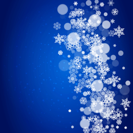 New Year snowflakes on blue background with sparkles. Winter theme. Christmas and New Year snowflakes falling. For season sales, special offer, banners, cards, party invites, flyers. White frosty snow