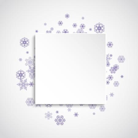 Kerstmisverkoop met ultraviolette sneeuwvlokken. Winter frame voor flyer, cadeaubon, uitnodiging, zakelijke aanbieding en advertentie. Kerst witte achtergrond. Papieren banner voor xmas verkoop. Nieuwjaar ijzige achtergrond Stockfoto - 93051259