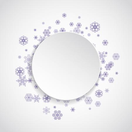 Sneeuwkader voor Kerstmisverkoop met ultraviolette sneeuwvlokken. Winter grens voor flyer, cadeaubon, uitnodiging, zakelijke aanbieding en advertentie. Kerst witte achtergrond. Papier banner en sneeuw frame. Besneeuwde achtergrond Stockfoto - 93051257
