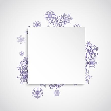 Kerstmis thema verkoop met ultraviolette sneeuwvlokken. Winter frame voor flyer, cadeaubon, uitnodiging, zakelijke aanbieding en advertentie. Kerst witte achtergrond. Papier banner voor xmas thema. Nieuwjaar ijzige achtergrond Stockfoto - 93051260