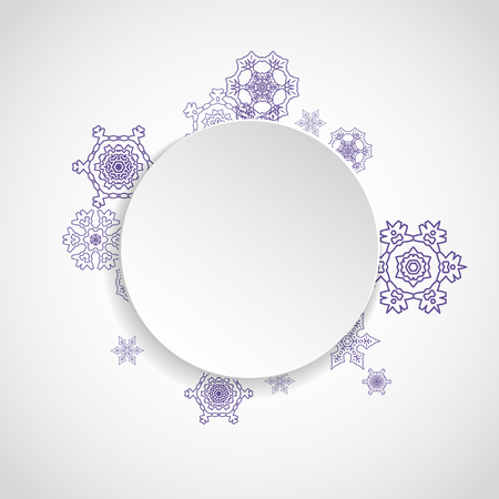 Xmas theme sale with ultraviolet snowflakes.  Winter border for flyer, gift card, party invite, retail offer and ad. Christmas white background. Paper banner for xmas theme. New Year snowy backdrop Stock Illustratie