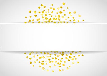 Valentine papier frame met gouden glitter harten. 14 februari dag. Vector confetti voor valentijn papier frame. Witte banner met hand getrokken textuur. Liefdesthema voor voucher, speciale bedrijfsadvertentie, banner. Stockfoto - 93075942