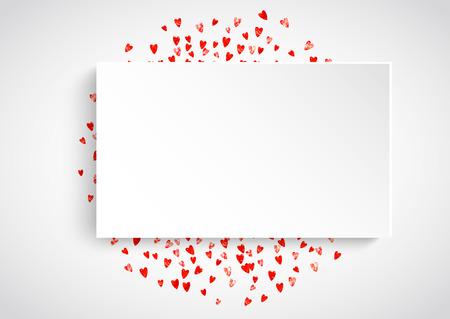 Valentine-document het kader met rood schittert harten. 14 februari dag. Vector confetti voor valentijn papier frame. Witte banner met hand getrokken textuur. Liefdesthema voor flyer, speciale zakelijke aanbieding, promo Stockfoto - 93210646
