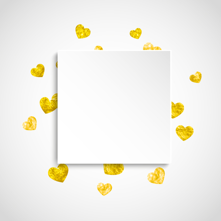 Hartjesetiket met gouden glitters. 14 februari dag. Vector confetti met hart papieren etiket. Feestelijke witte banner met hand getrokken textuur. Liefdesthema voor voucher, speciale zakelijke advertentie, banner. Stock Illustratie
