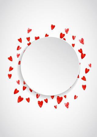 Hartjesetiket met rode glitter. 14 februari dag. Vector confetti met hart papieren etiket. Feestelijke witte banner met hand getrokken textuur. Liefdesthema voor voucher, speciale zakelijke advertentie, banner.