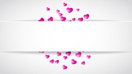 Valentine papieren badge met rode glitter harten. 14 februari dag. Vector confetti voor valentijn papier badge. Witte banner met hand getrokken textuur. Liefdesthema voor speciale zakelijke aanbieding, banner, flyer Stockfoto - 93871373