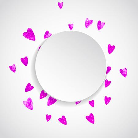 Valentine papier frame met rode glitter harten. 14 februari dag. Vector confetti voor valentijn papier frame. Witte banner met hand getrokken textuur. Liefdesthema voor speciale zakelijke aanbieding, banner, flyer Stockfoto - 93963298