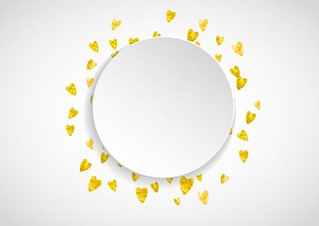 Hart papieren etiket met gouden glitter. 14 februari dag. Vector confetti met hart papieren etiket. Feestelijke witte banner met hand getrokken textuur. Liefdesthema voor poster, cadeaubon, banner