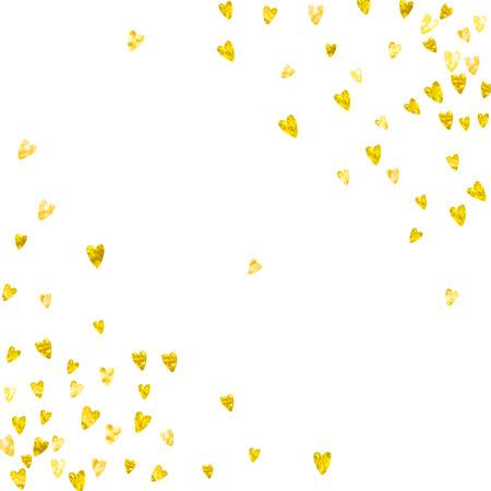 Valentijnsdag grens met gouden glitter harten. 14 februari dag vector confetti voor Valentijnsdag rand sjabloon. Grunge hand getrokken textuur, liefdesthema voor cadeaubonnen, vouchers, advertenties, evenementen.