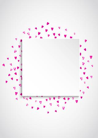 Hart papieren bord met rode glitter. 14 februari dag. Vector confetti met hart papieren bord. Feestelijke witte banner met hand getrokken textuur. Liefdesthema voor speciale zakelijke aanbieding, banner.