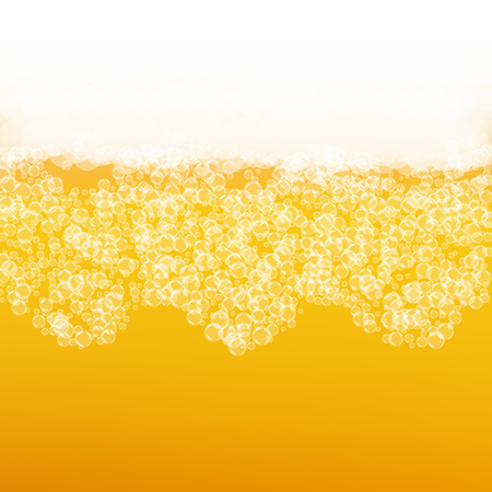 Beer background with realistic bubbles. Cool liquid drink for pub and bar menu design, banners and flyers. Illustration