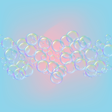 Shampoo bubbles on gradient background. Ilustração