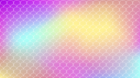 Mermaid scale on trendy gradient background. Horizontal backdrop with mermaid scale ornament. Bright color transitions. Fish tail banner and invitation. Underwater sea pattern. Rainbow colors. Çizim