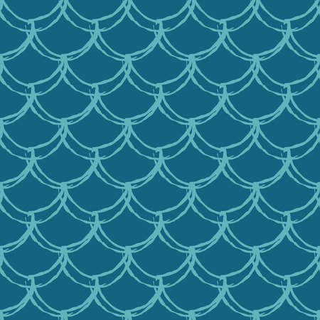 Fish scale seamless pattern. Reptile, dragon skin texture. Tillable background for your fabric, textile design, wrapping paper, swimwear or wallpaper. Blue mermaid tail with fish scale underwater. Illustration