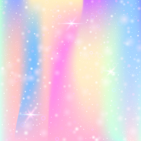 Unicorn background with rainbow mesh. Mystical universe banner in princess colors. Fantasy gradient backdrop with hologram.  Holographic unicorn background with magic sparkles, stars and blurs.